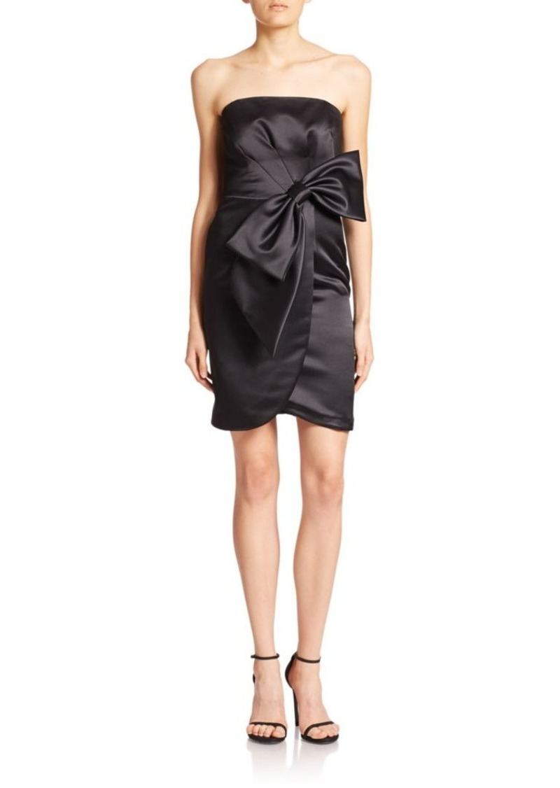 MILLY Duchesse Satin Bow Cocktail Dress