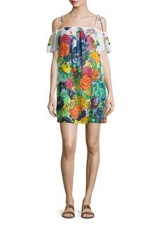 Milly Eden Floral-Print Off-the-Shoulder Coverup Dress