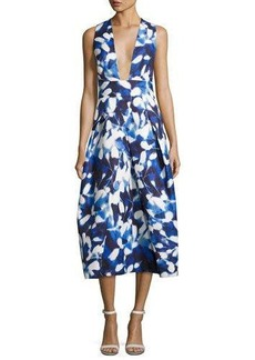 Milly Elisa Pleated Floral Faille Midi Dress
