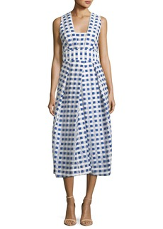 Milly Elisa Sleeveless Gingham Fil Coupe Midi Dress  Cobalt