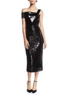 Milly Ella Double-Sided Sequin One-Shoulder Dress