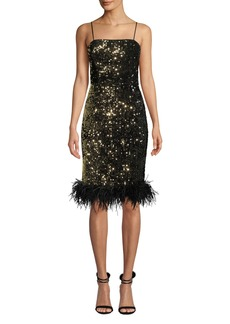 Milly Elle Sequin Velvet Feather-Hem Dress
