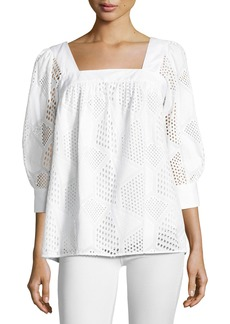 Milly Embroidered Cotton Eyelet Square-Neck Top