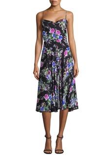 Milly Emily Silk Floral Midi Dress