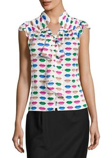 Milly Emily Tie-Neck Lip-Print Georgette Blouse
