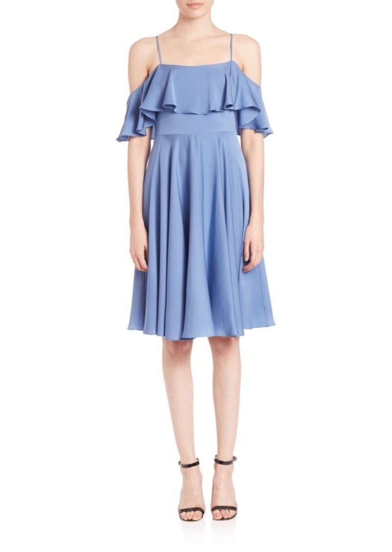 MILLY Emmaline Ruffled Cold-Shoulder Dress