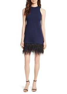 Milly Feather Hem Shift Dress