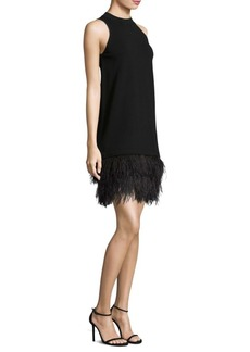 Milly Feather-Trim Shift Dress