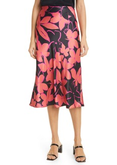 Milly Fion Floral Bias Satin Skirt