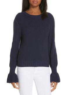 Milly Fisherman Flounce Sleeve Sweater