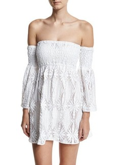 Milly Floral Crochet Off-the-Shoulder Smocked Coverup Mini Dress