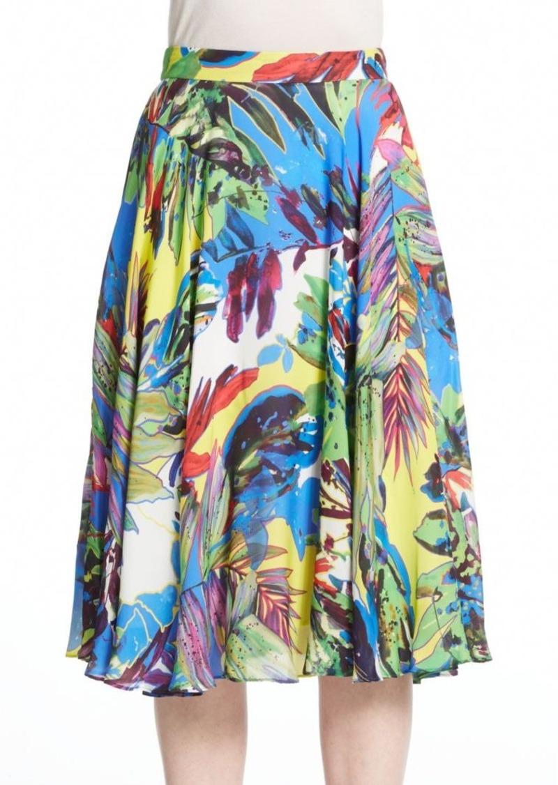 MILLY Silk Floral-Print Midi Skirt