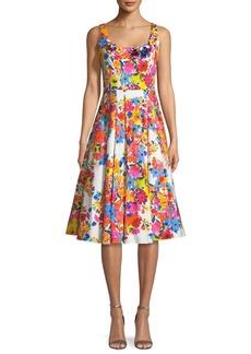 Milly Floral-Print Sleeveless Satin Tea-Length Cocktail Dress