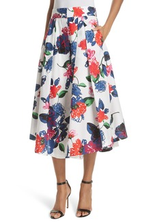 Milly Floral Print Stretch Cotton Skirt