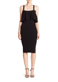 MILLY Flounced Fitted Dress