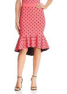 MILLY Fluted Dot-Print Skirt
