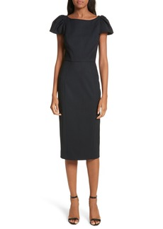 Milly Gabardine Italian Wool Blend Midi Dress