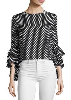 Milly Gabby Dot-Print Silk Georgette Blouse