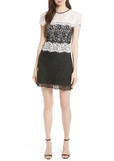 Milly Gabrielle Two Tone Lace Sheath Dress