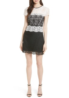 Milly Gabrielle Two Tone Lace Sheath Dress