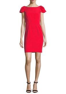 Milly Gathered Short-Sleeve Italian Cady Sheath Minidress