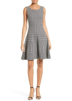 Milly Geo Jacquard Fit & Flare Dress