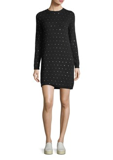 Milly Geometric Crystal-Embellished Sweater Dress