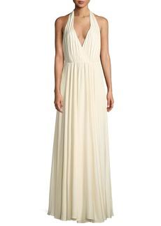 Georgina Silk Stretch Halter-Strap Gown