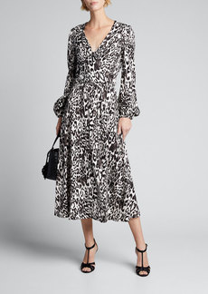 Milly Gina Leopard Print Jacquard Midi Dress