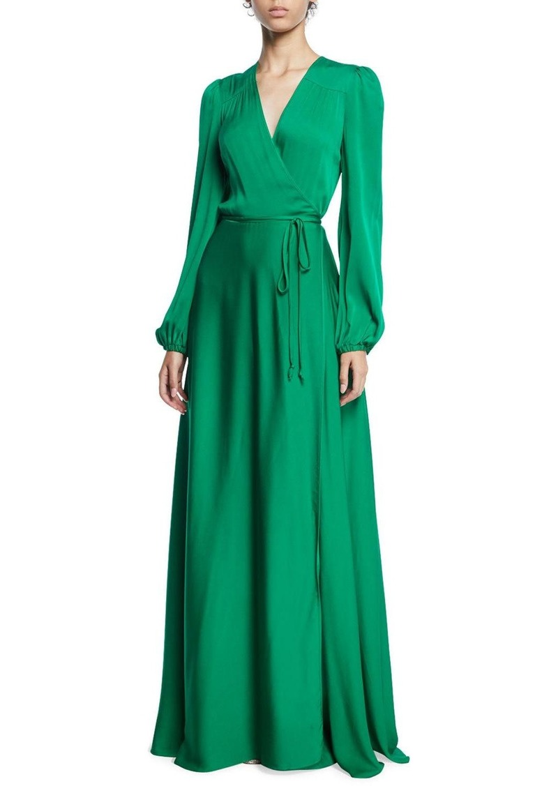 Milly Gina Long-Sleeve Stretch Silk Wrap Gown