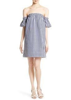 Milly Gingham Off the Shoulder Shift Dress
