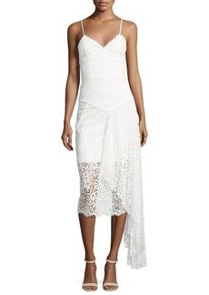 Milly Gisele Lace Midi Dress w/ Side Cascade