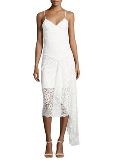 Milly Gisele Lace Midi Dress w/ Side Cascade