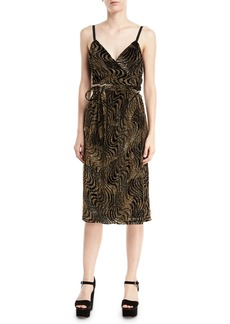 Milly Haley Burnout Velvet V-Neck Cocktail Dress