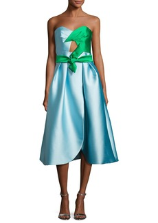 Milly Haley Strapless Double-Face Satin Cocktail Dress
