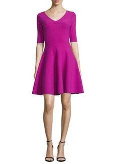 Milly Half-Sleeve V-Neck Fit-&-Flare Dress