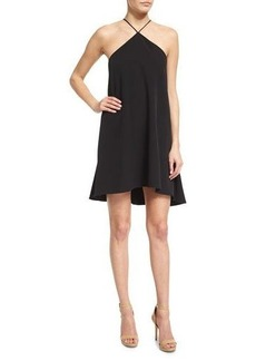 Milly Halter-Neck Cascade-Back Dress