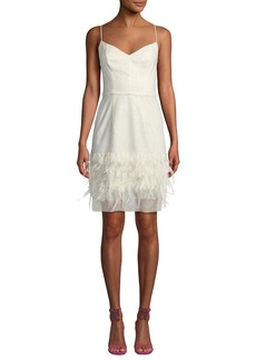 Milly Hannah Embroidered Sequin & Feather Dress