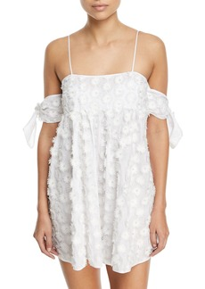Milly Hartli Floral-Embroidered Mini Coverup Dress
