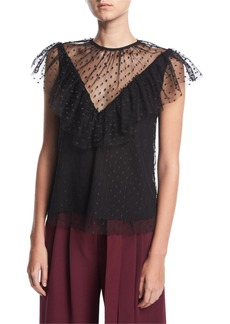 Milly Helena Flutter-Sleeve Dotted Tulle Blouse