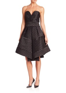 MILLY Hexagon Patterned Pleated Gown