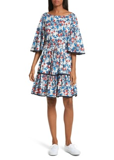 Milly Hibiscus Print Fit & Flare Dress