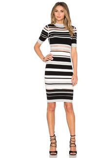 MILLY Invisible Stripe Cutout Dress