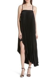 Milly Irene Asymmetrical Pleated Silk Maxi Dress