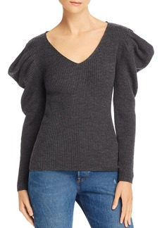 MILLY Isabelle Ribbed Wool Puff-Shoulder Sweater