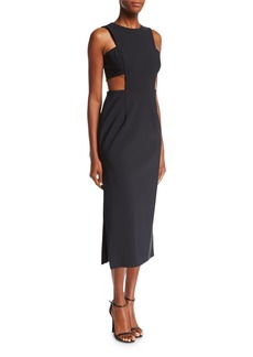 Milly Issey Tech-Stretch Cocktail Midi Dress