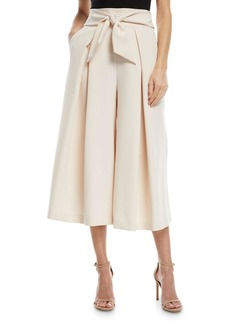 Milly Italian Cady Bow-Detail Culotte Pants