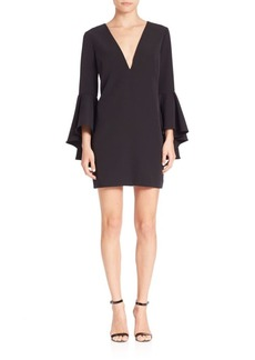 MILLY Italian Cady Nicole Bell Sleeve Dress