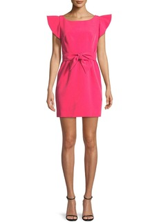 Milly Italian Cady Ruffle-Sleeve Bow Mini Dress
