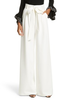 Milly Italian Cady Trapunto Tie Waist Trousers